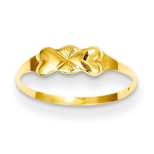 Madi K Kids 14k Yellow Gold Polished Double Heart Baby