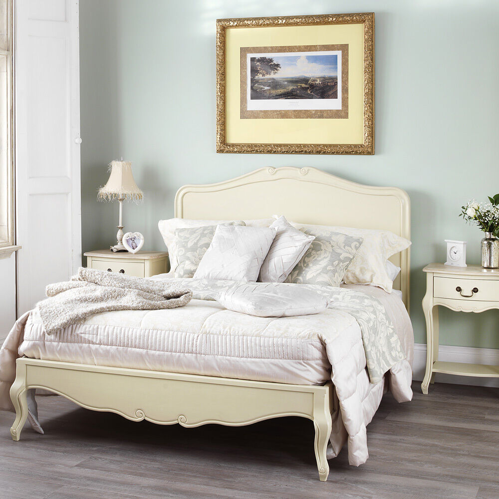 Juliette shabby chic champagne 5ft king size bed cream for Shabby chic bett