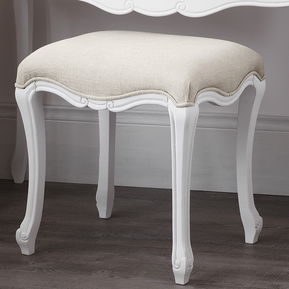 juliette shabby chic white upholstered stool french stool. Black Bedroom Furniture Sets. Home Design Ideas