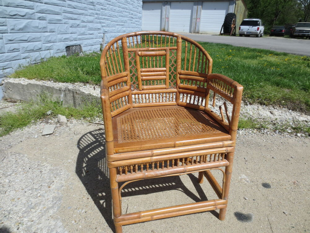 Vintage 1950 s ornate rattan bamboo tiki chair chinoise