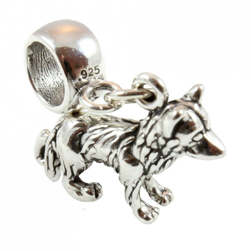 454746a9c Details about German Shepherd / Alsatian Dog 3D Sterling Silver Dangle Charm  / Carrier Bead