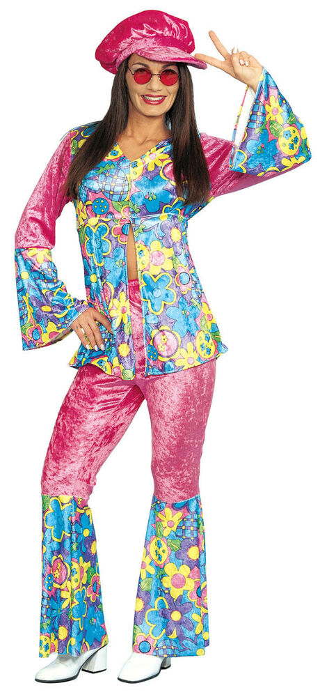 flower power adult hippie costume ebay. Black Bedroom Furniture Sets. Home Design Ideas