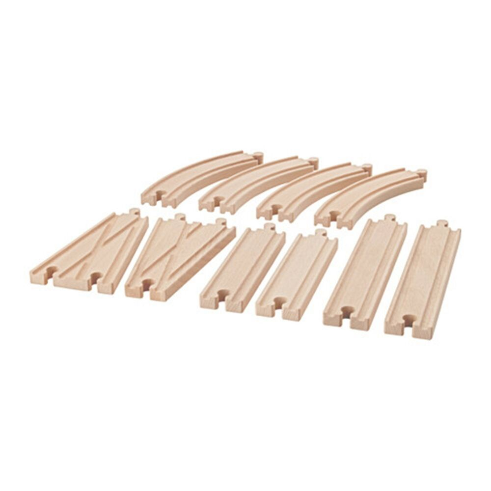 ikea lillabo 10 piece childrens childs kids wooden rail train track new ebay. Black Bedroom Furniture Sets. Home Design Ideas