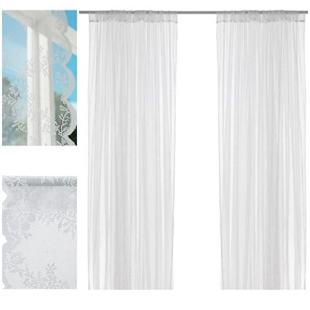 1 pair ikea white alvine spets sheer lace net curtains 145 x 250cm each curtain ebay. Black Bedroom Furniture Sets. Home Design Ideas