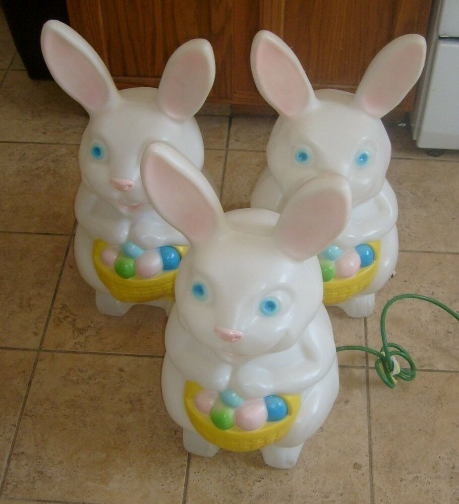 3 vintage rare easter bunny rabbit blow mold empire light - Light up easter decorations ...