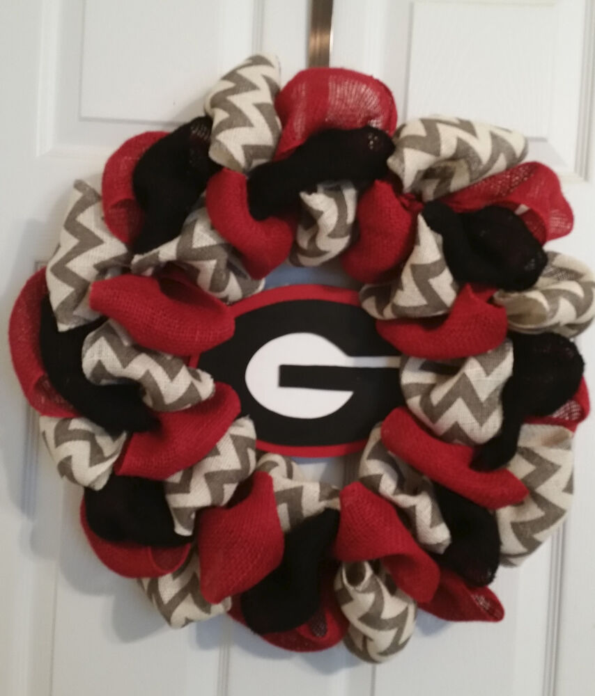 Georgia Bulldogs Football Burlap Door Wreath 22 Quot Ebay