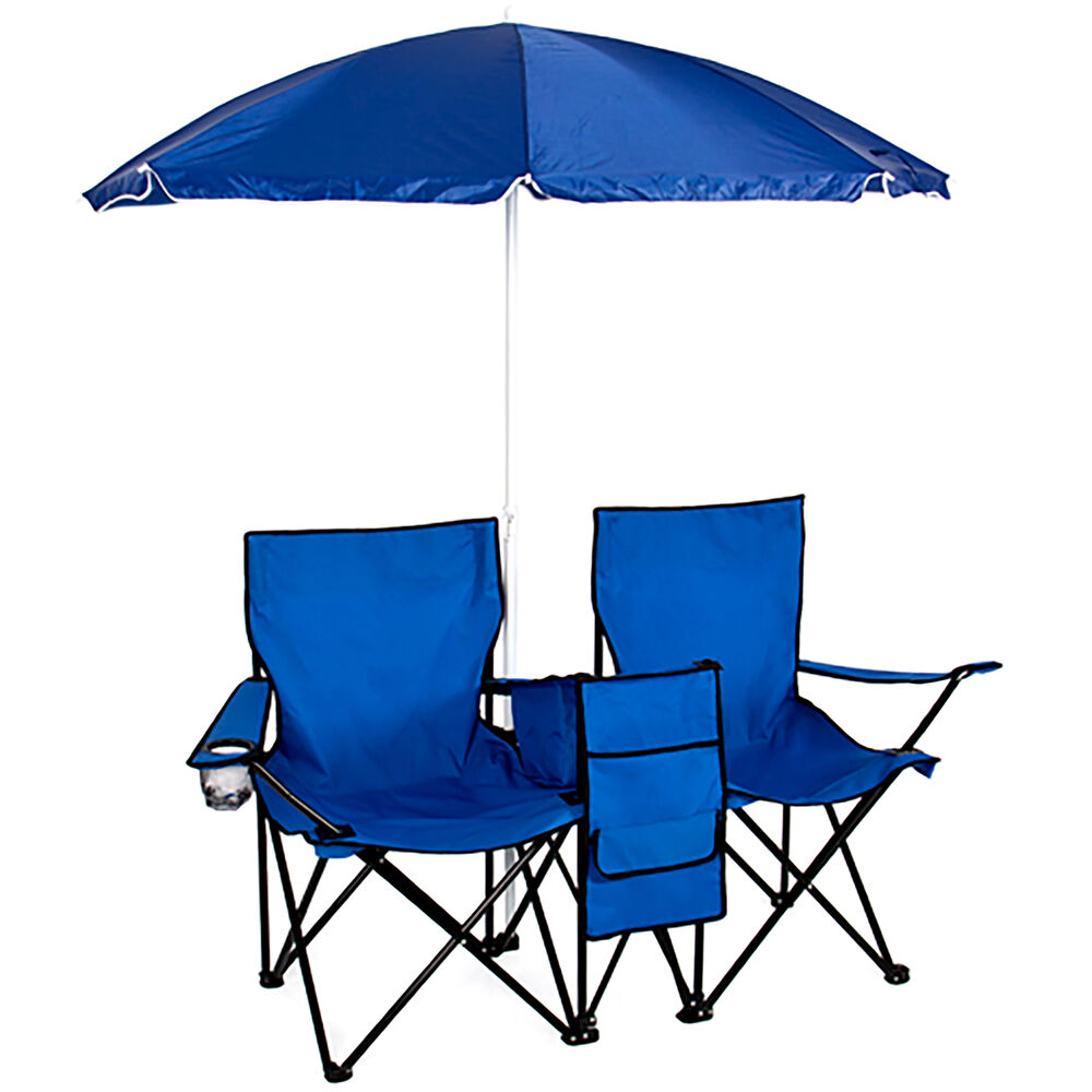 Picnic Double Folding Chair w Umbrella Table Cooler Fold Up Beach Camping Cha