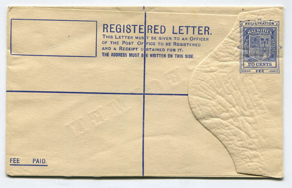 registered letter registered letter postal envelope fee paid mauritius 20 24259 | s l1000