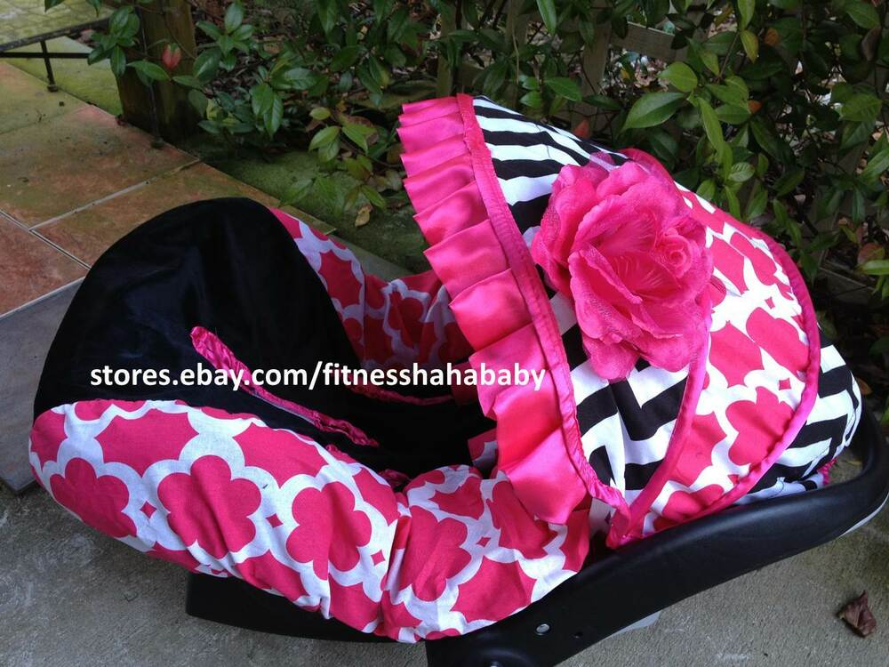 Babygirl Chevron Blac Pink Infant Car Seat Canopy Cover