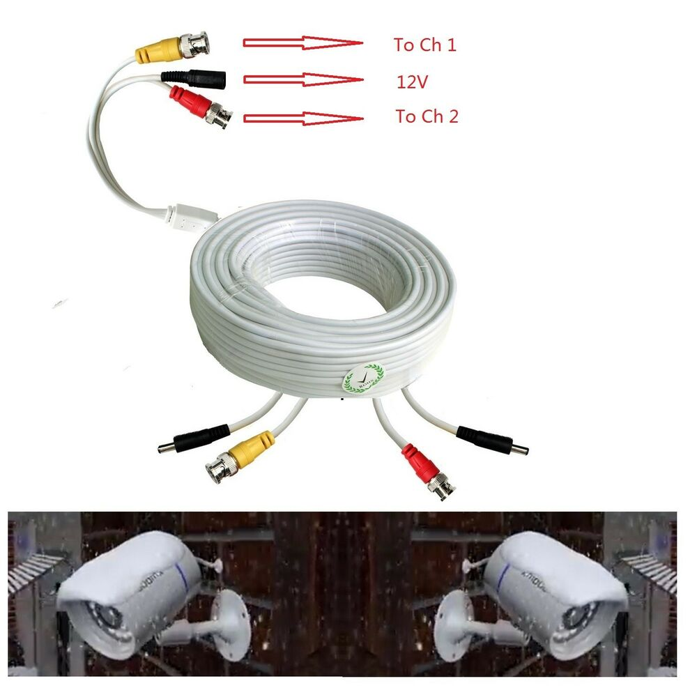 White Premium 100ft Power Amp Video Cable For 2 Cctv Camera
