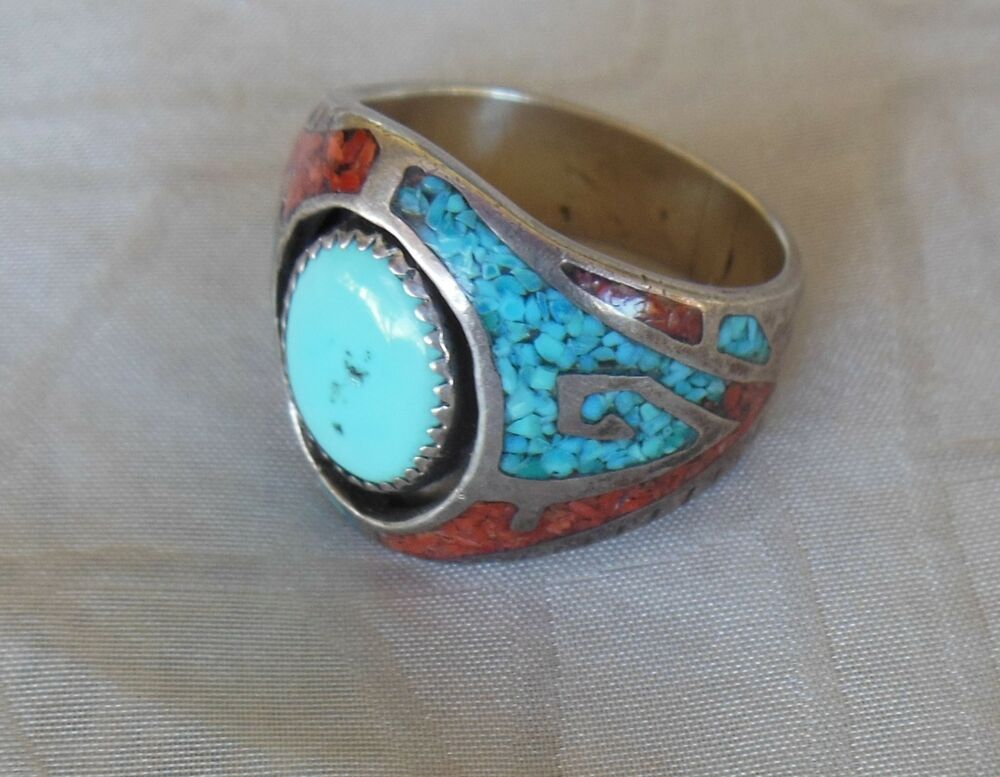 Native American Navajo Signed Sterling Man S Size 12 Ring