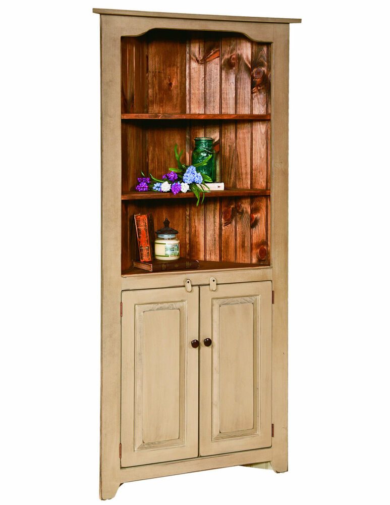 Corner china hutch kitchen cabinet country farmhouse amish for Kitchen cupboard cabinets