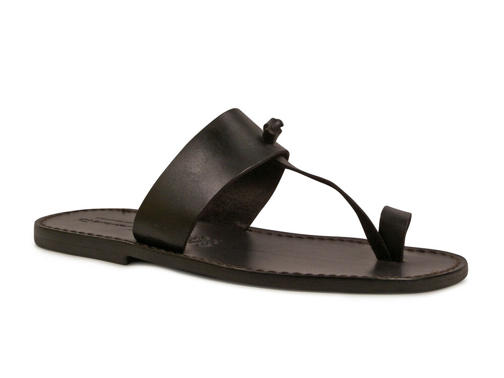 Handmade Black Genuine Leather Thong Sandals For Mens Made