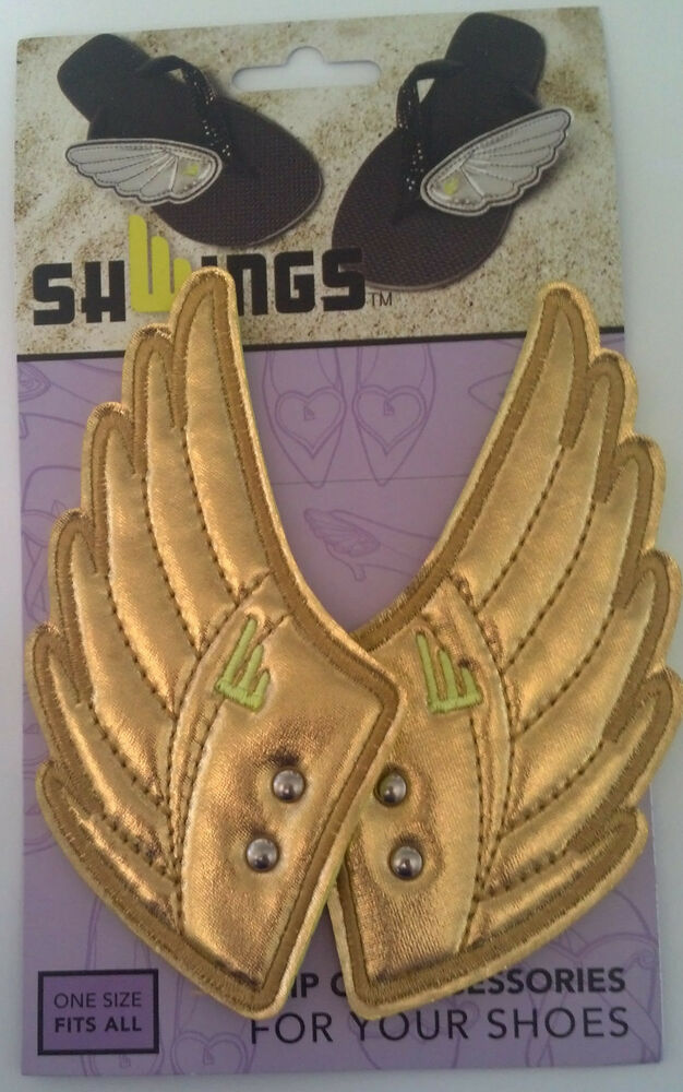 b225dc8d0d Details about SHWINGS Gold Foil clip on Wings for shoes designer Shwings  NEW 14104