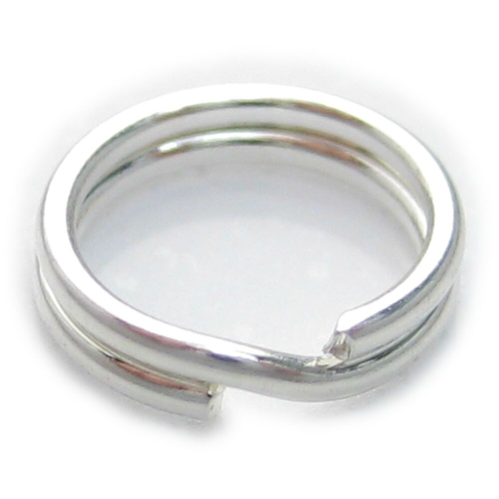 1 x 6mm split ring sterling silver 925 charm keyrings