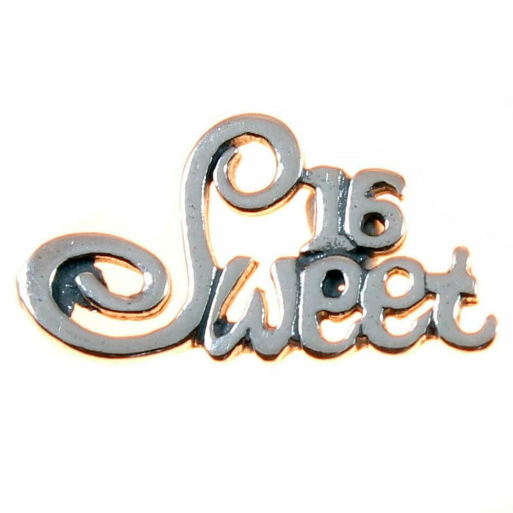 Sweet 16 Letters Sterling Silver Charm - 16th Birthday