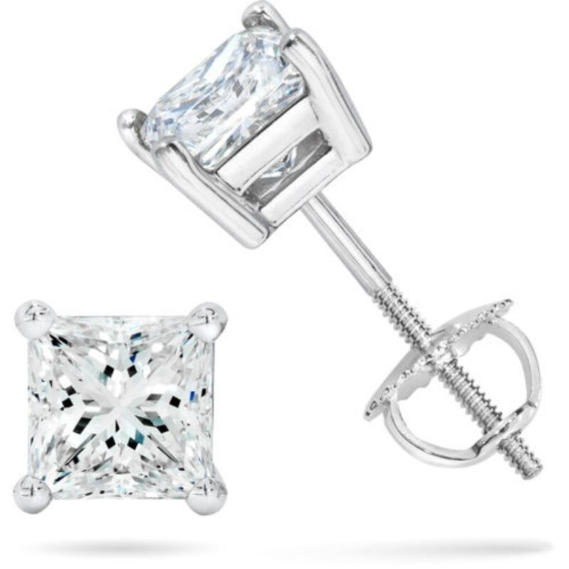 75 ct White Sapphire Princess Stud Earrings 14k White Gold overlay Screw b