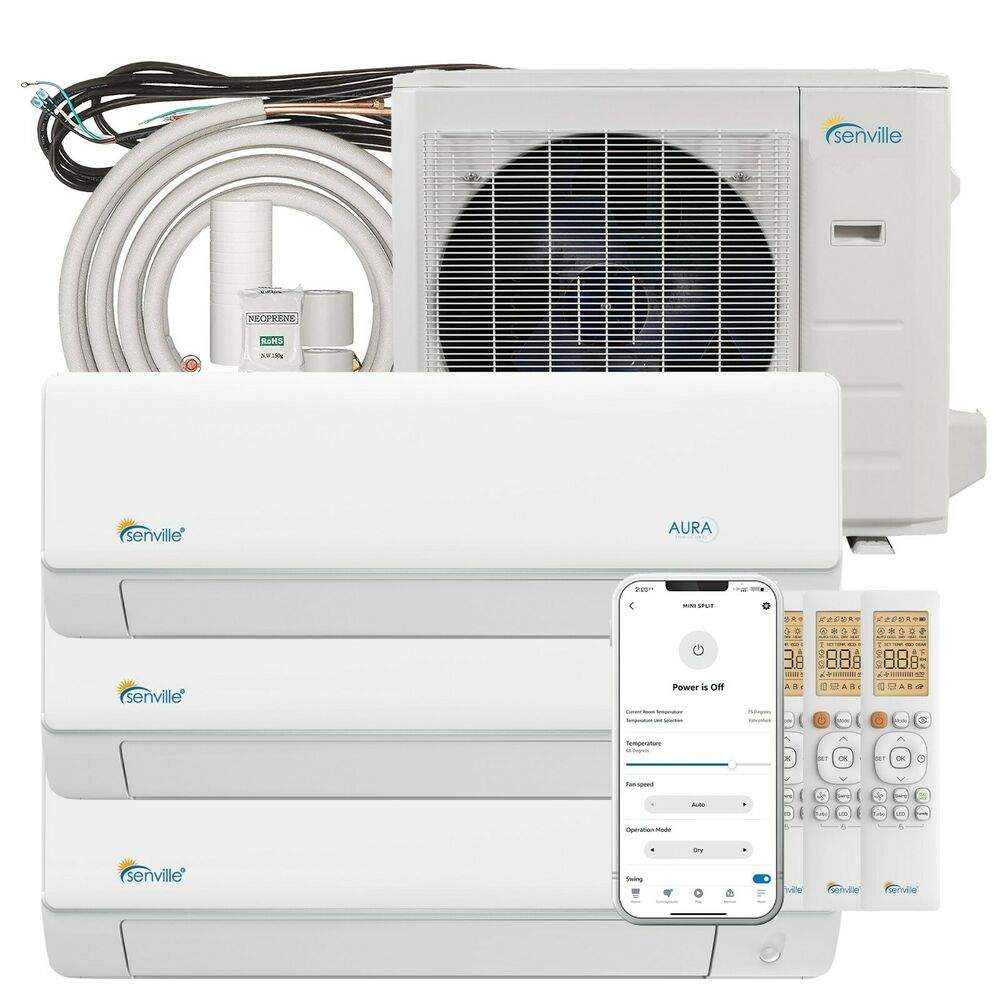 27000 BTU Tri Zone Ductless Mini Split Air Conditioner And