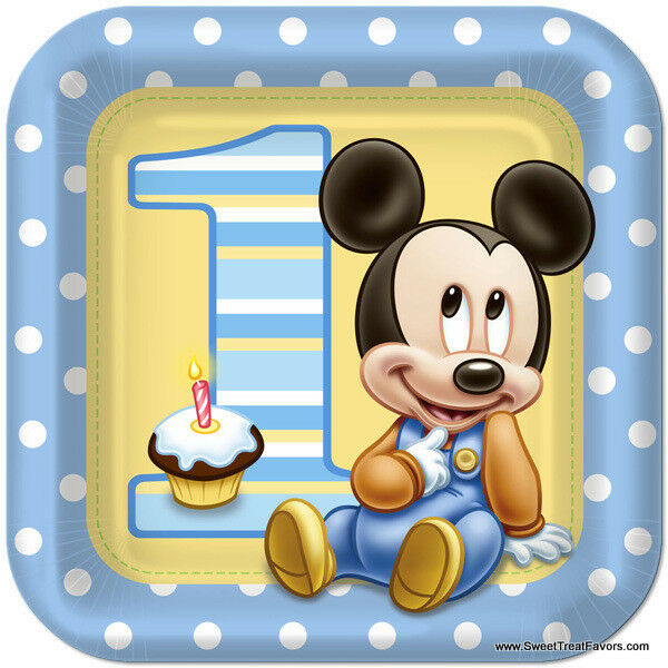 Mickey mouse baby plates lunch 1st first birthday for Baby 1st birthday decoration