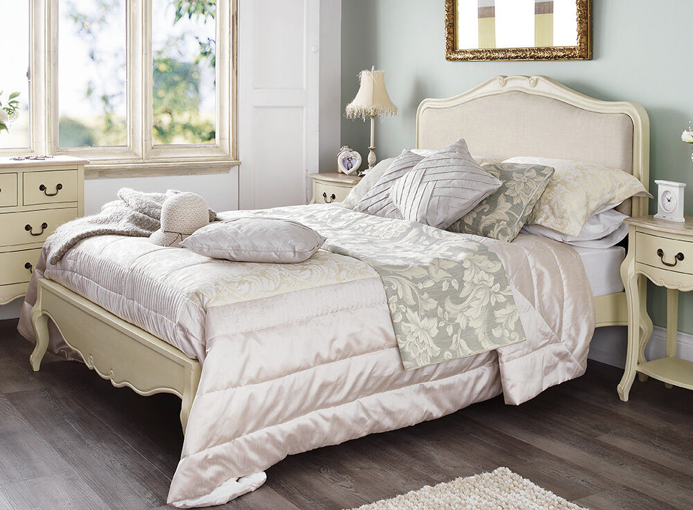 juliette shabby chic champagne upholstered double bed 4ft6 cream bed frame 5060346450322 ebay. Black Bedroom Furniture Sets. Home Design Ideas
