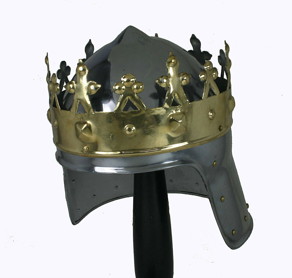 k nigs ritter helm krone mittelalter r stung larp sca artus kingcrown artus r225 ebay. Black Bedroom Furniture Sets. Home Design Ideas