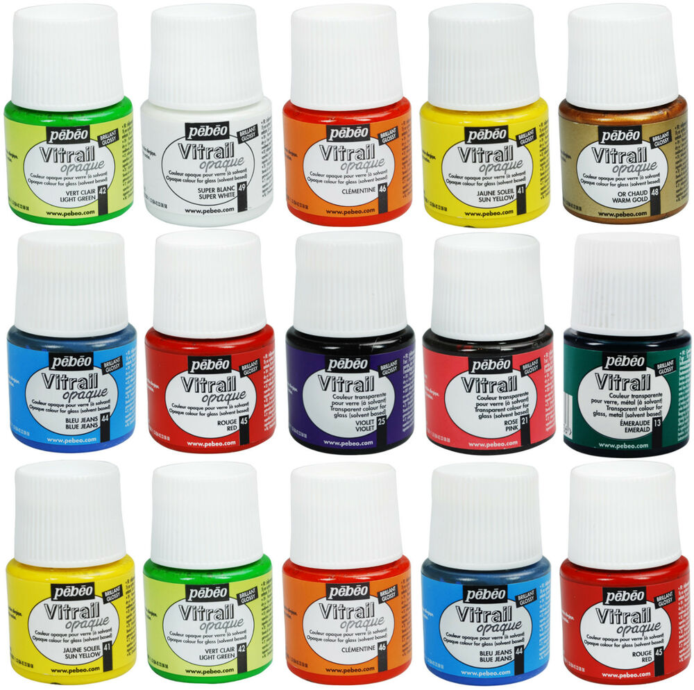 Pebeo vitrail glass paint stained opale opaque for Solvent based glass paint