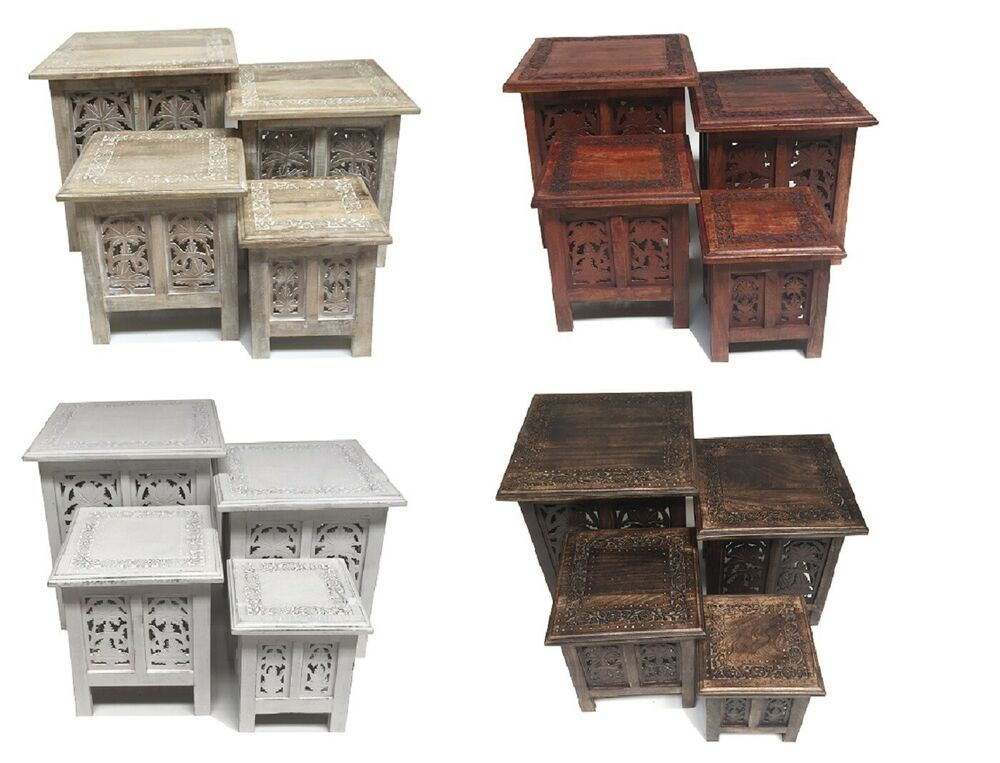 Beautiful antique effect hand carved indian wooden table side coffee tables ebay Side and coffee tables