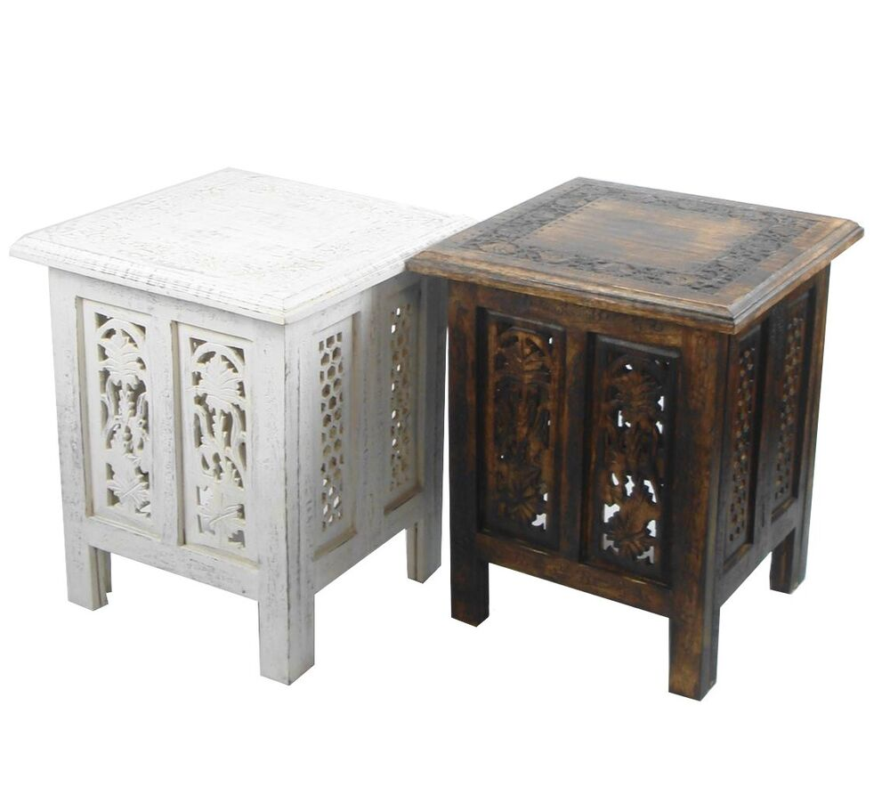 Beautiful brown or white hand carved indian wooden table side coffee tables ebay Side and coffee tables