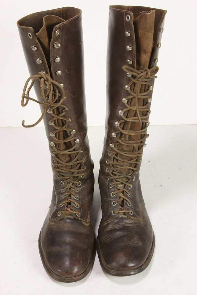 Diamond Brand Knee-High Leather WWII Motorcycle Boots Sz 8 Mens 19 ...