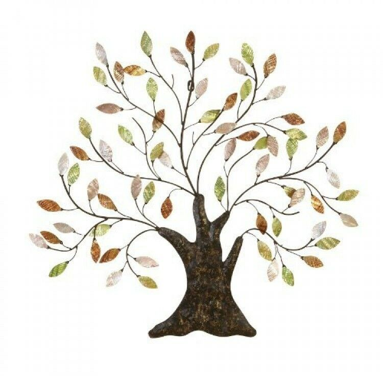 Metal tree of life wall art decoration branch shells home for Tree wall art