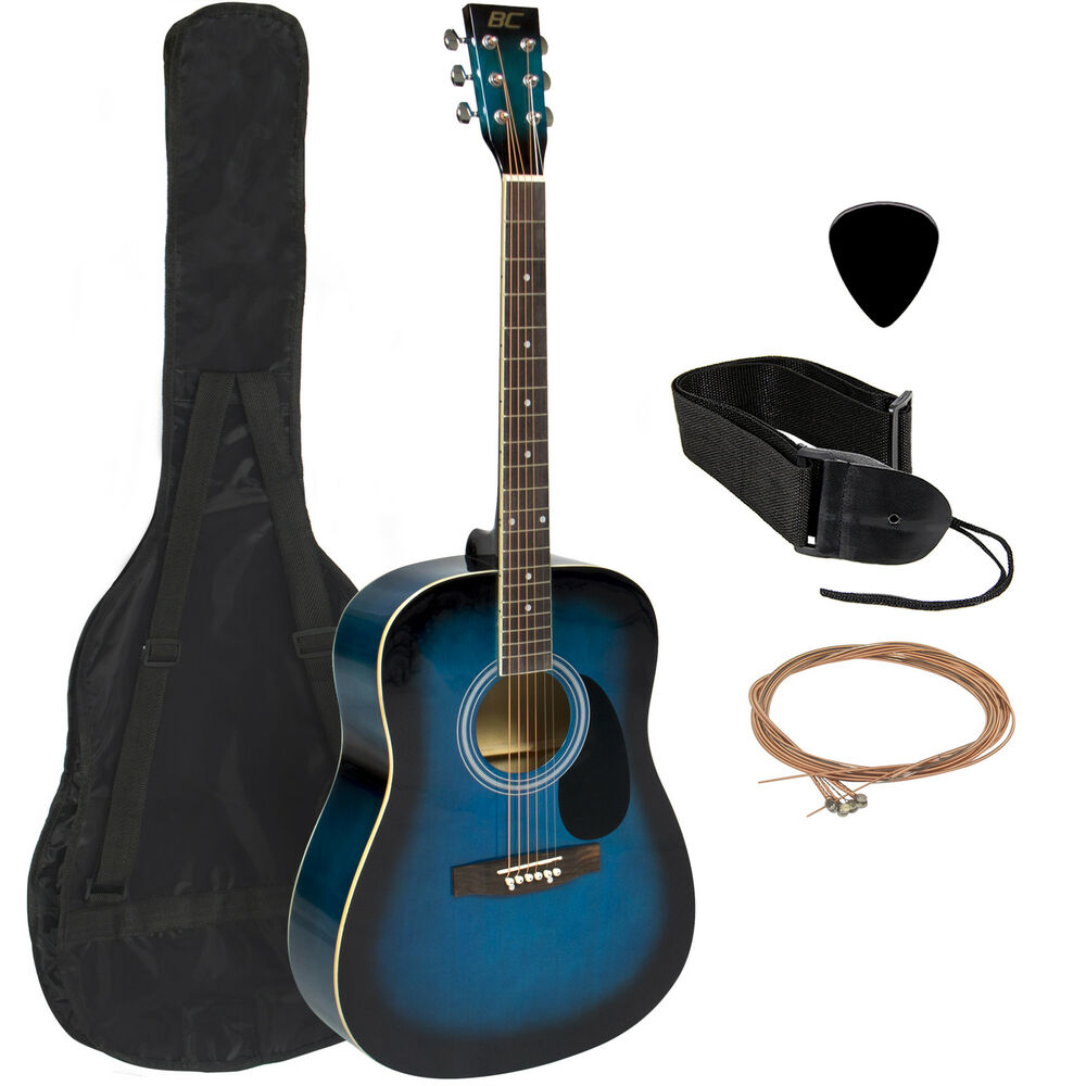 acoustic guitar 41 full size adult blue includes guitar pick accessories ebay. Black Bedroom Furniture Sets. Home Design Ideas
