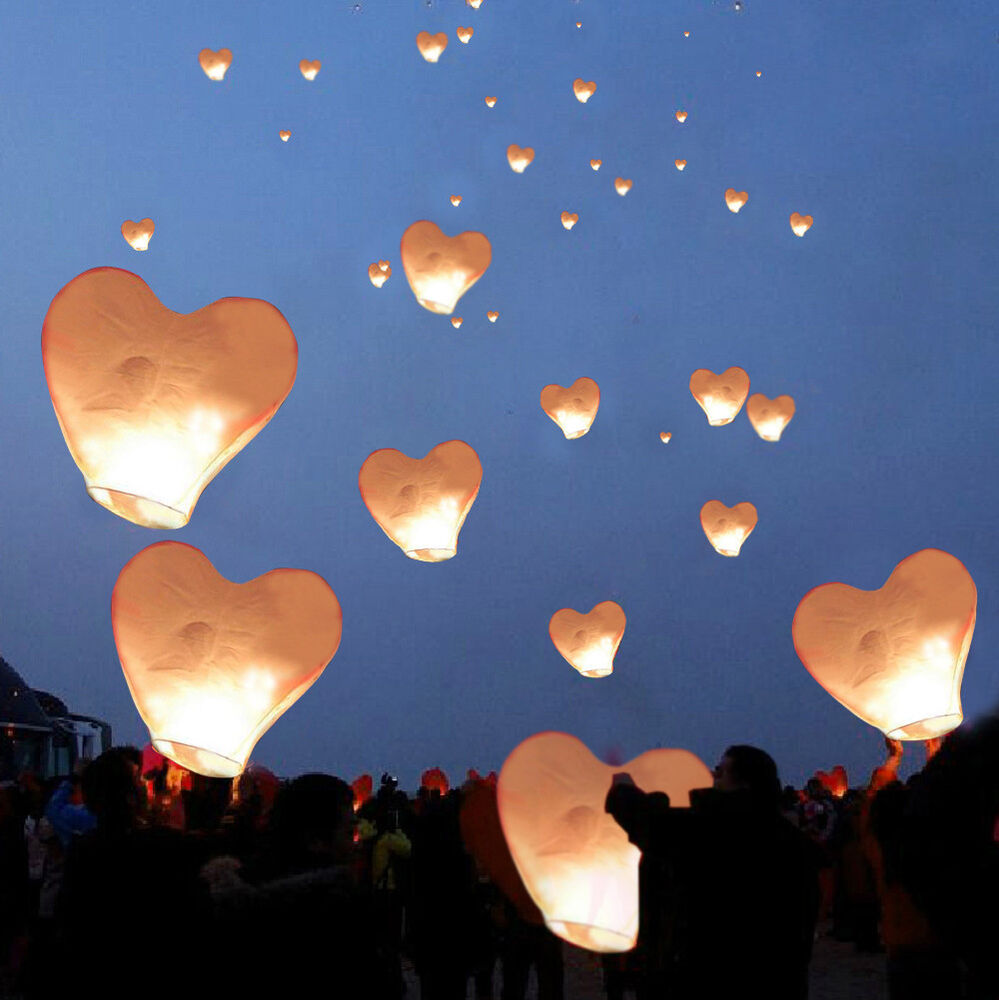 20 white heart paper chinese lanterns sky fly candle lamps