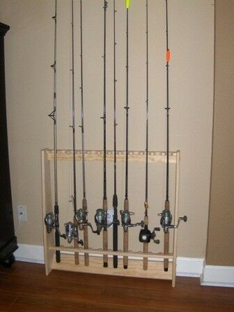 Vertical wall fishing pole rod rack holder natural pine 12 for Wall fishing rod holder