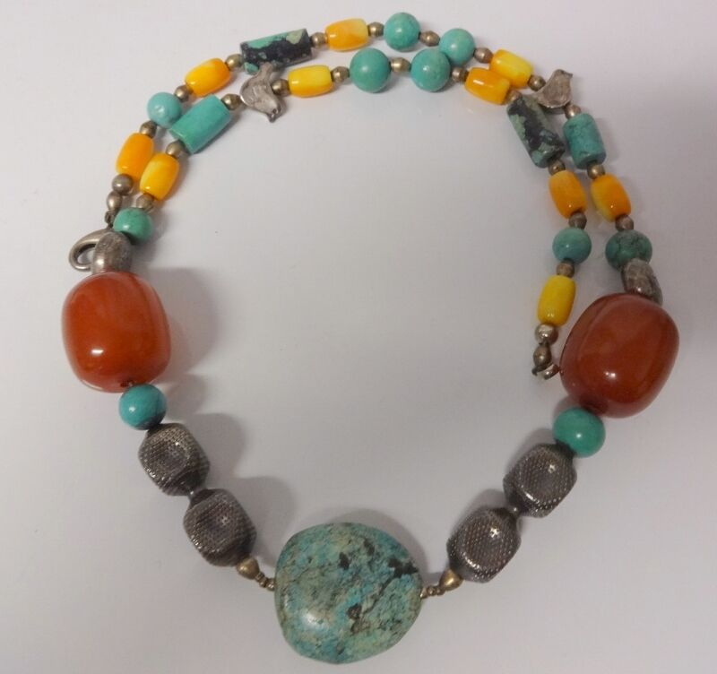 Chinese Silver Bead Turquoise Carved Large Carnelian