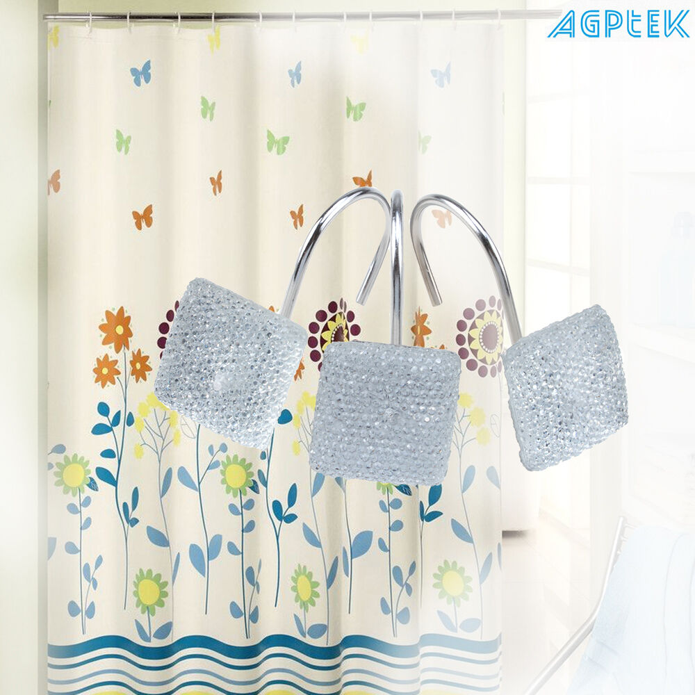 Agptek 12 Pcs Decorative Diamond Rolling Shower Curtain Hooks For Home Bathroom Ebay