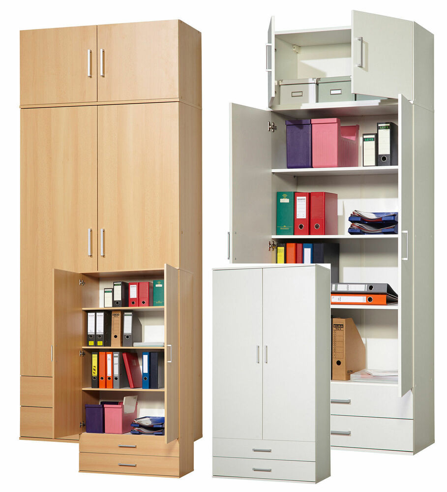 mehrzweckschrank aktenschrank schrank schrankwand flurschrank buche weiss ebay. Black Bedroom Furniture Sets. Home Design Ideas