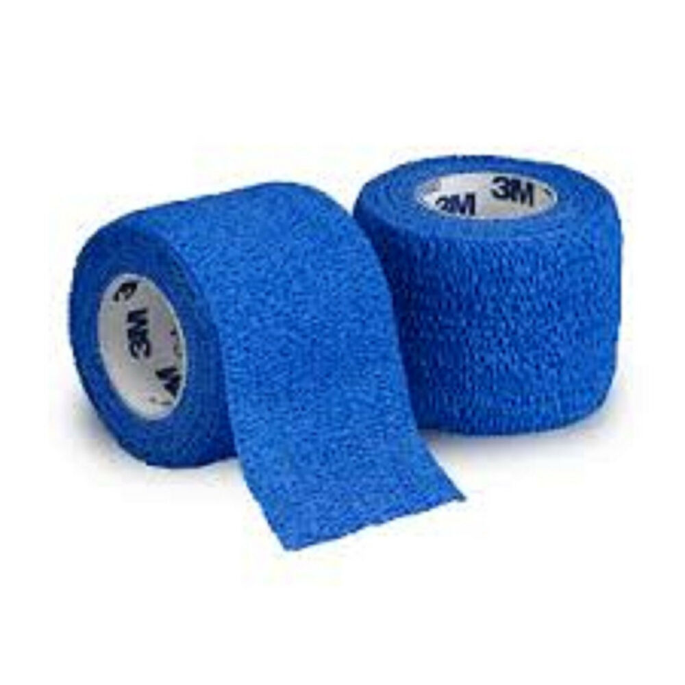 "Coban Wrap Self Adherent Medical Tape: 2"" x 5yds (Blue) - Each ""One Roll"" 