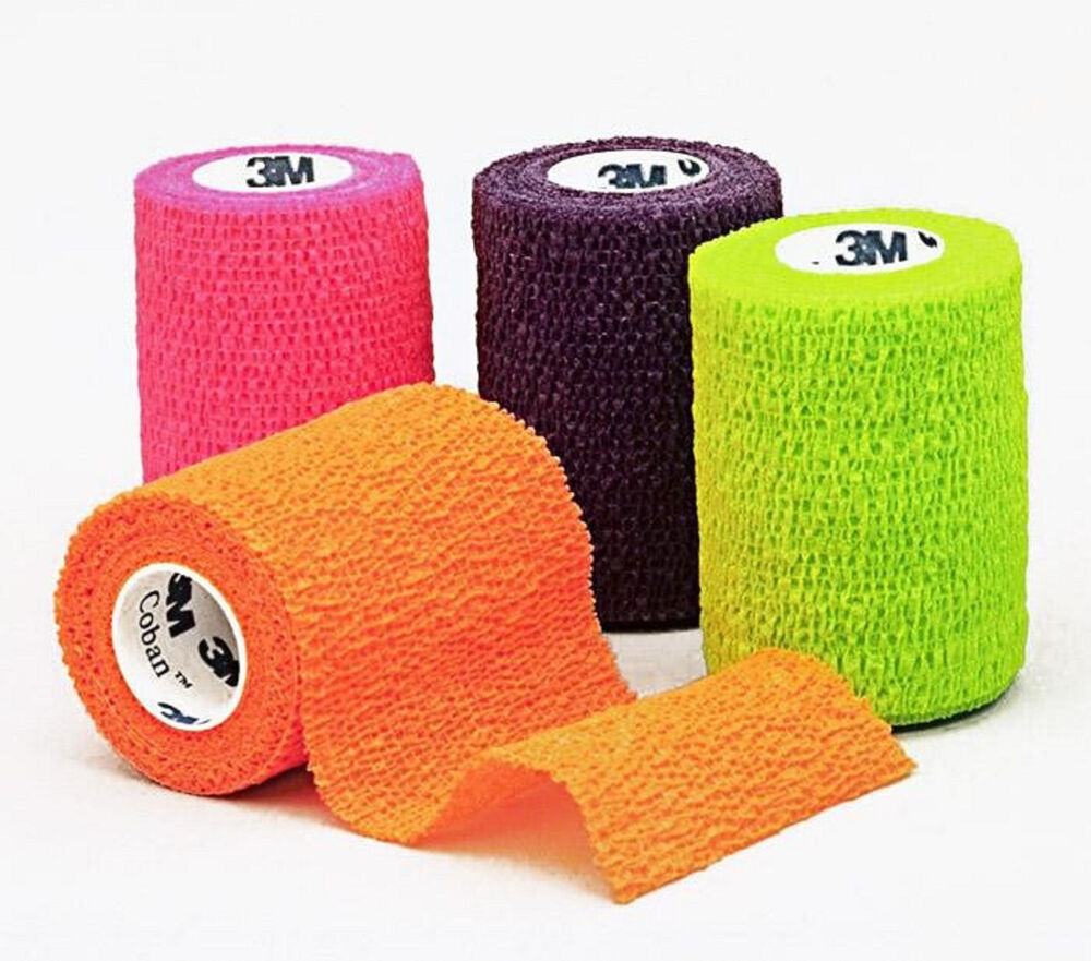 """Coban Wrap Self Adherent Medical Tape: 3"""" x 5yds Assorted Neon Colors, Box of 12 