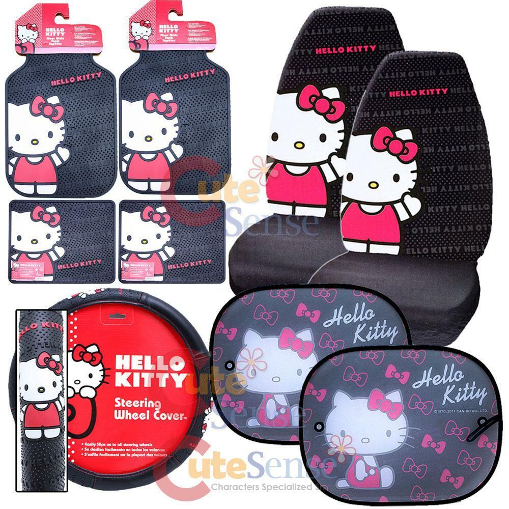 hello kitty core car seat covers accessories compleate 12pc set w full sunshade ebay. Black Bedroom Furniture Sets. Home Design Ideas