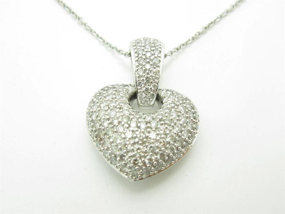 White Gold Pave Diamond Heart Necklace