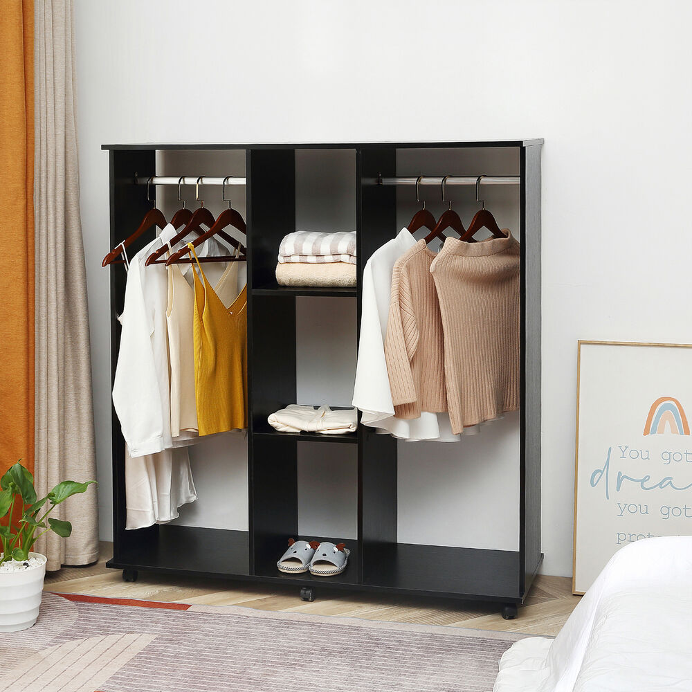 double mobile open wardrobe bedroom storage shelves w clothes 5055974818279 ebay