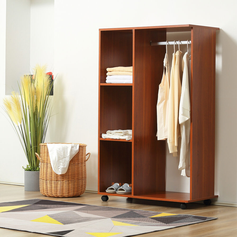 single mobile open wardrobe storage shelves organizer with clothes hanging rail 5055974818262 ebay. Black Bedroom Furniture Sets. Home Design Ideas