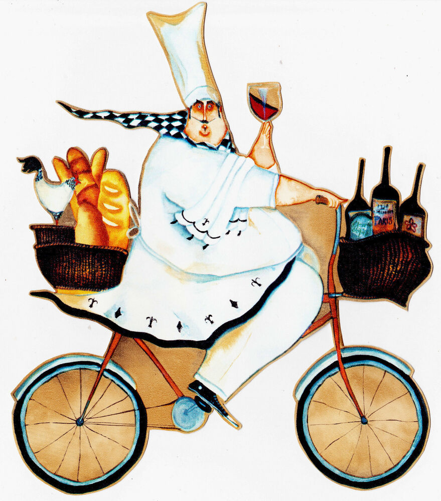 8 fat chef bike bicycle wine kitchen prepasted wallpaper border cut out ebay. Black Bedroom Furniture Sets. Home Design Ideas
