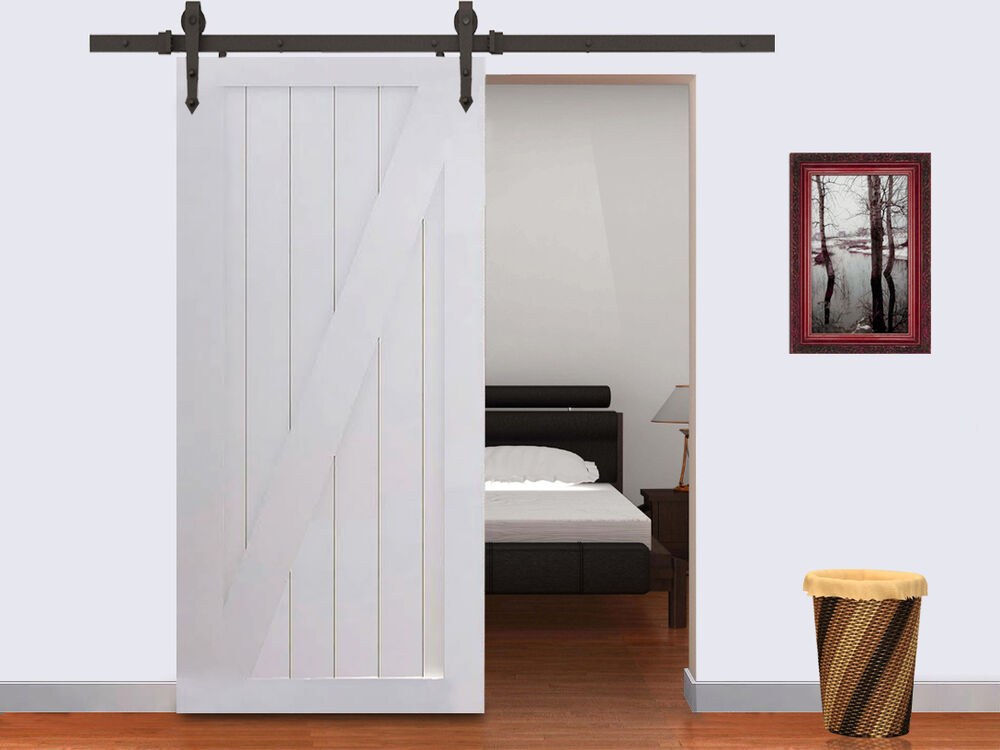 new 6 ft black modern antique style sliding barn wood door hardware closet set ebay