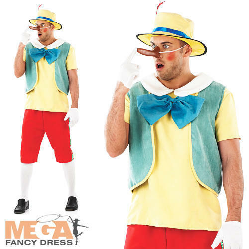 Cartoon Characters Costumes : Mens fairy tale puppet pinocchio fancy dress adults