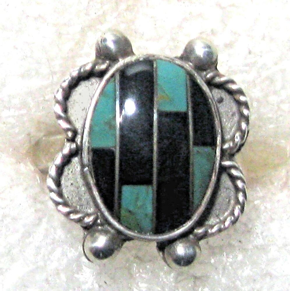 Sterling Silver  Onyx Turquoise Stone Ring Select Size B Ebay