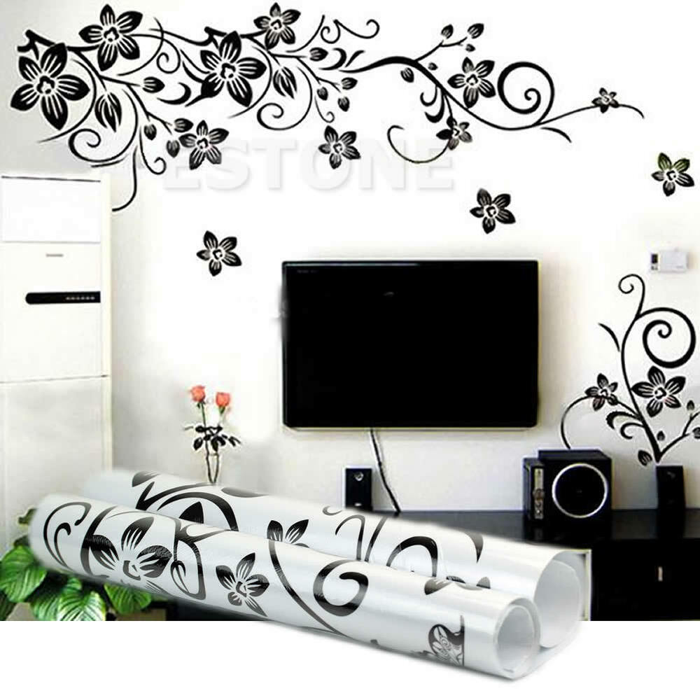 Black flowers removable wall stickers wall decals diy for Black wall mural