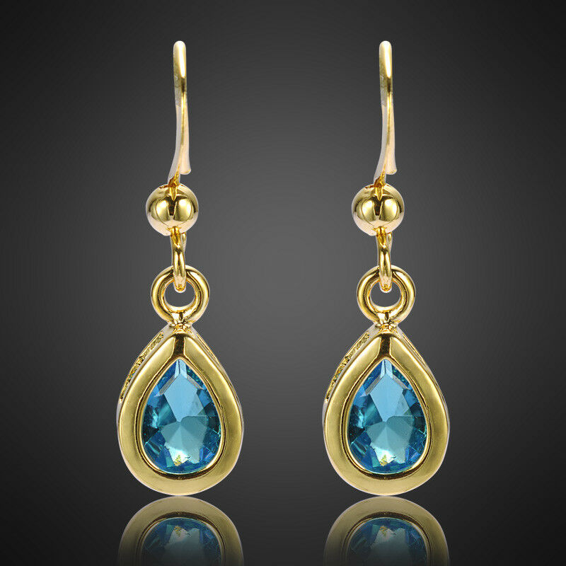 Luxury 18K Yellow Gold Plated Earring Amp Zircon Rhinestone Women Jewelry UK