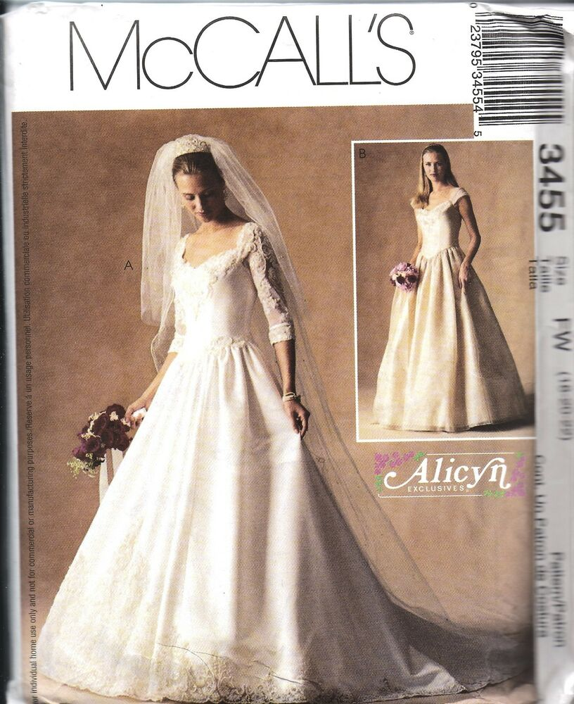 3455 uncut vintage mccalls sewing pattern misses alicyn for Wedding dress patterns vintage