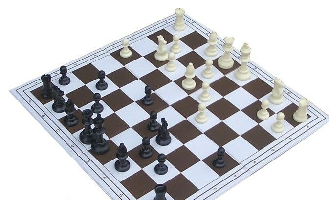 Triple Player Chess Board : Tournament chess set triple weighted pieces and double